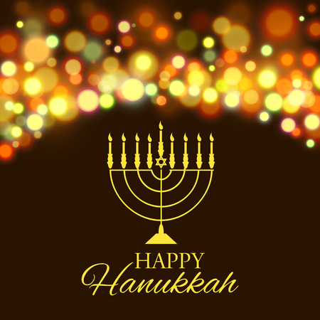 Vector illustration of Hanukkah background with menorah and lights. Happy Hanukkah background. Elegant greeting card. Ilustração