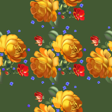 Seamless pattern in russian traditional style. Vintage flowers. vector illustration.