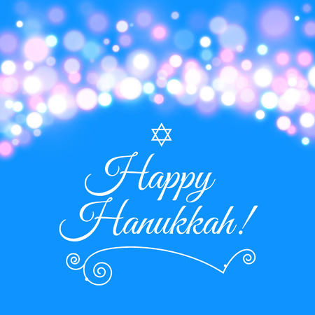 hannukah: Vector illustration of Happy Hanukkah greeting card with hand-drawn calligraphy designed text. Happy Hanukkah background.