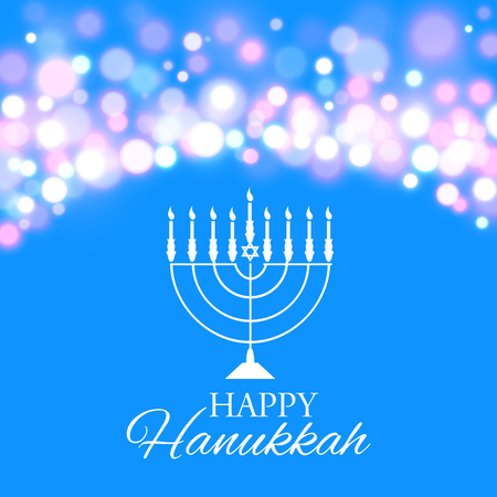 Vector illustration of Hanukkah background with menorah and lights. Happy Hanukkah background. Elegant greeting card. Illustration