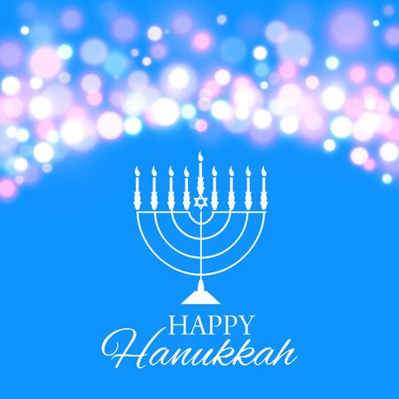 Vektor-Illustration von Chanukka-Hintergrund mit Menora und Lichtern. Happy Hanukkah Hintergrund. Elegante Grußkarte.