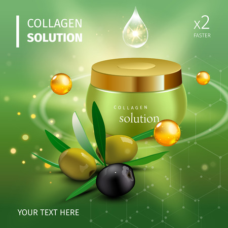 Vector illustration of Realistic Collagen Cream Bottle with green and black olives and drops on green background. Skin Care Cosmetic.