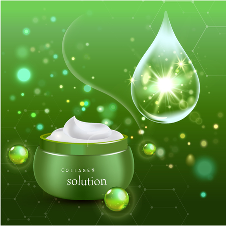 radiant: Vector illustration of Realistic Collagen Cream Bottle with drops on green background. Skin Care Cosmetic.