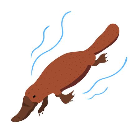 Vector illustration of Australian animal Platypus. Sign. Icon
