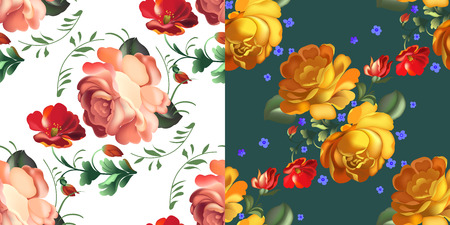 Vector illustration Set of Floral textile seamless pattern in Russian Zhostovo style on white and green background. Russian traditional ornament. Illustration