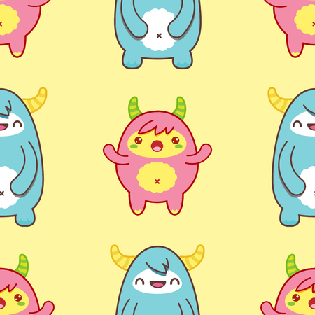 Seamless pattern with cute yeti on yellow background. Vector illustration