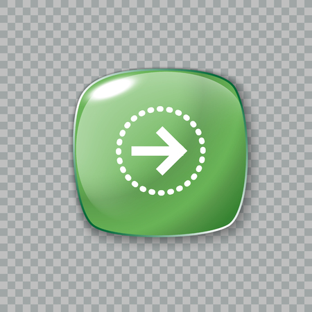 green arrow: Vector illustration of Right arrow icon. Glossy green button