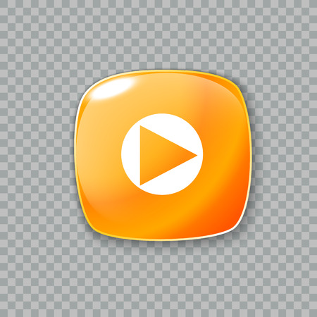 newest: Vector illustration of Right arrow icon. Glossy orange button Illustration
