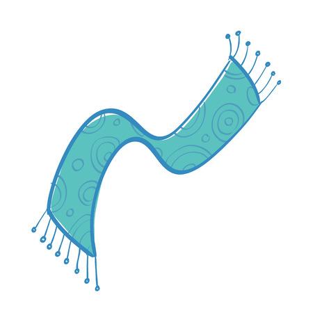 Vector illustration of blue scarf with fringe on white background.