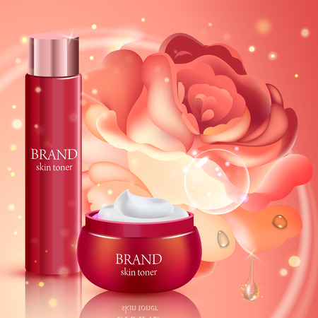 tonic: Skin toner contained in bottle and cosmetic jar with rose background. Vector illustration