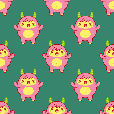 Seamless pattern with cute yeti on green background. Vector illustration