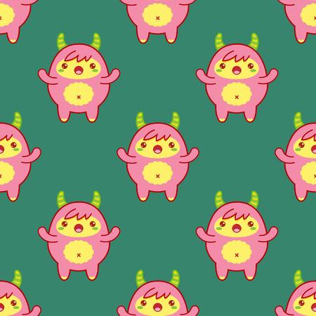 Seamless pattern con yeti carino su sfondo verde. illustrazione di vettore