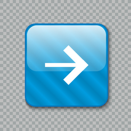 newest: Vector illustration of Right arrow icon. Glossy blue button Illustration
