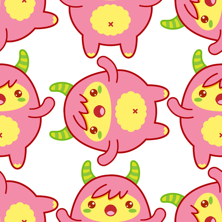 Seamless pattern with cute yeti on white background. Vector illustration
