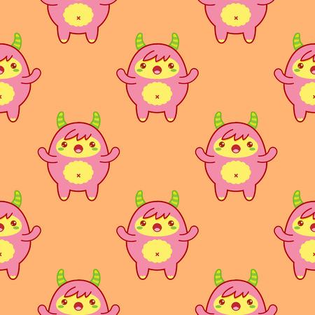 Seamless pattern with cute yeti on orange background. Vector illustration