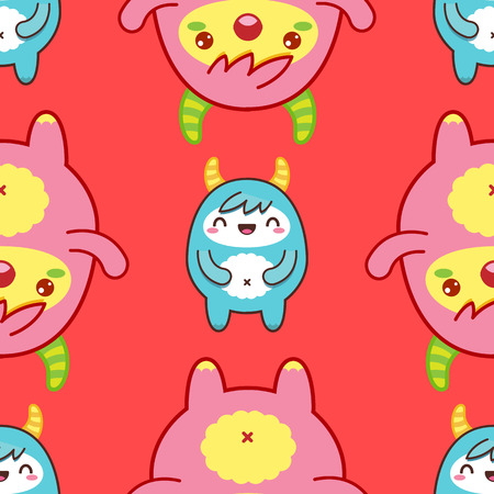Seamless pattern with cute yeti on red background. Vector illustration Vettoriali