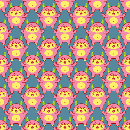 Seamless pattern with cute yeti on blue background. Vector illustration Vettoriali