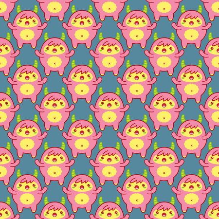 Seamless pattern con cute yeti su sfondo blu. Illustrazione vettoriale