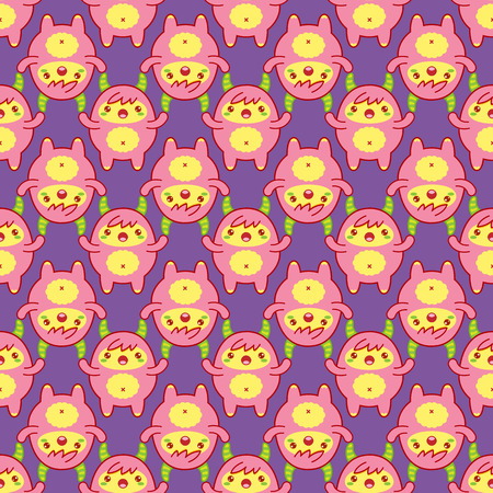 Seamless pattern with cute yeti on purple background. Vector illustration
