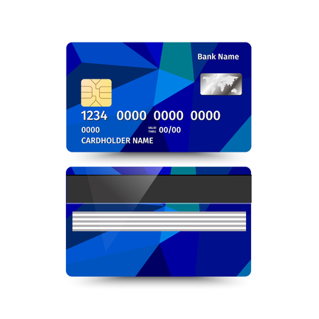 sides: Vector illustration of Credit Card two sides with Abstract Polygon design on white background. Blue sample
