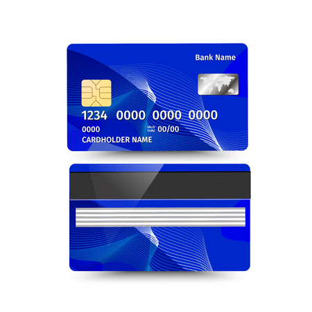 operation for: Vector illustration of credit card two sides with absrtact design on white background. Electronic card for banking operation and plastic card bank. Blue sample