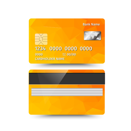 operation for: Vector illustration of credit card two sides with absrtact design on white background. Electronic card for banking operation and plastic card bank. Yellow sample Illustration