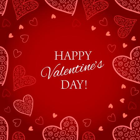 幸せのバレンタインの s 日赤の背景にグリーティング カードをレタリングの心します。ベクトル図