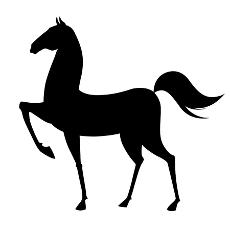 entice: Black horse silhouette on white background. Vector illustration