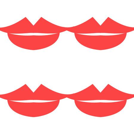 smooch: Lips Seamless pattern. White background. Vector illustration