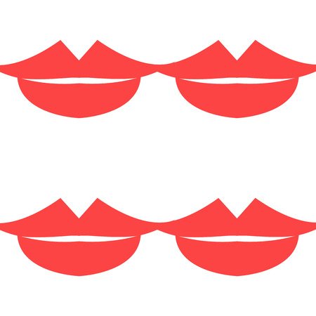 Lips Seamless pattern. White background. Vector illustration