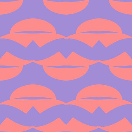 Lips Seamless pattern. Purple background. Vector illustration Illustration