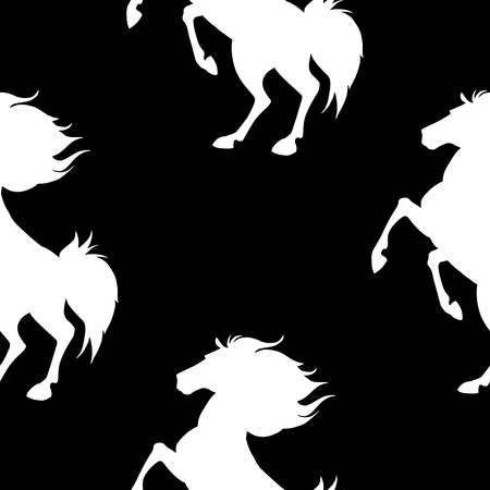 Seamless pattern with horses on black background. Vector illustration