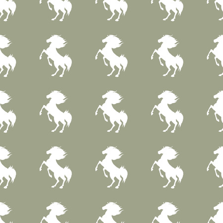 Seamless pattern with horses on grey background. Vector illustration