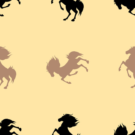 Seamless pattern with horses on beige background. Vector illustration Illustration
