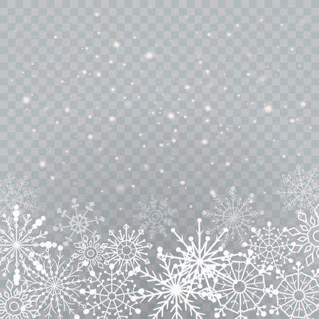 Realistic falling snowflakes isolated on transparent background. Shiny snowflakes. Vector illustration