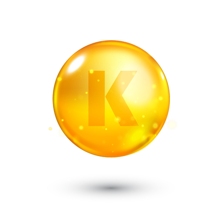 beauty treatment: Vitamin K glitter gold icon. Antihemorrhagics vitamin drop pill capsule. Shining golden essence droplet. Beauty treatment nutrition skin care design. Natural supplement 3d symbol. Vector illustration. Illustration