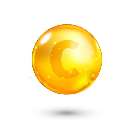 ascorbic acid: Vitamin C glitter gold icon. Ascorbic acid vitamin drop pill capsule. Shining golden essence droplet. Beauty treatment nutrition skin care design. Natural supplement 3d symbol. Vector illustration.