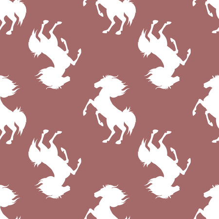 Seamless pattern with horses on brown background. Vector illustration