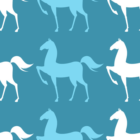 Colorful Seamless Pattern with Horse on blue background. Vector illustration