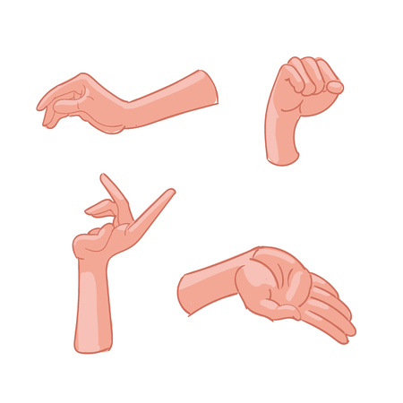 Vector illustration of hand gestures on white background Illustration