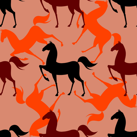 Colorful Seamless Pattern with Horse on brown background. Vector illustration