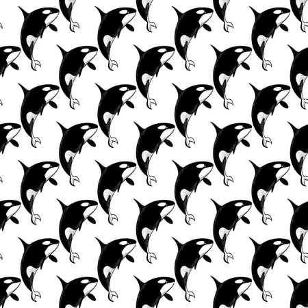 grampus: Grampus killer whale seamless pattern in doodle style on white background. Wild ocean animal wallpaper. Vector illustration for printing onto fabric.