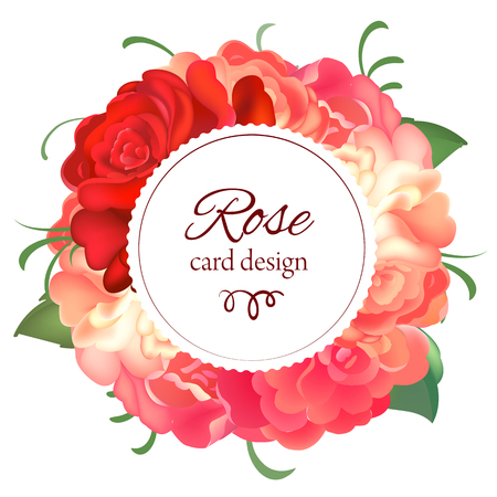 caligraphy: Postcard with a round frame of roses. Vector illustration Illustration