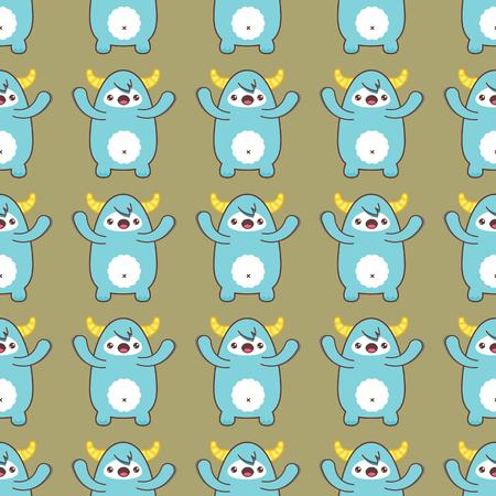 Cartoon yeti seamless pattern. Vector illustration