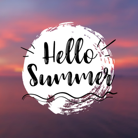 wave hello: Sea Background with Lettering Hello Summer. Vector Illustration