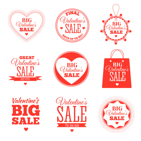 Set of Valentines day sale offers. Vector illustration