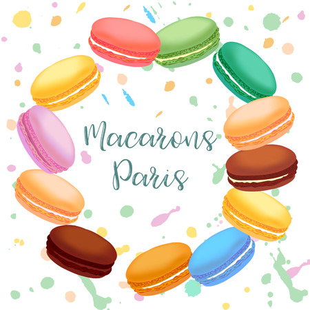 Different colored french macaroons. Vector illustration.