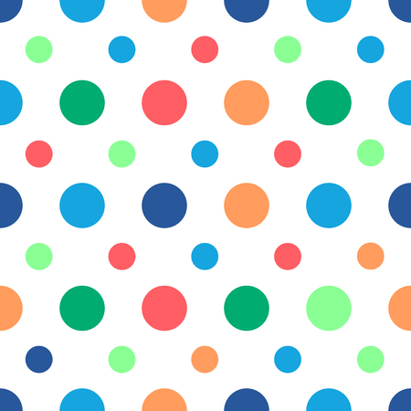 Polka dots seamless pattern with different colors dots on white background. Can be used for wrapping paper, fabric. Vector illustration