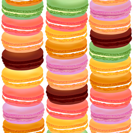 macaron: Seamless pattern with colorful macaroons