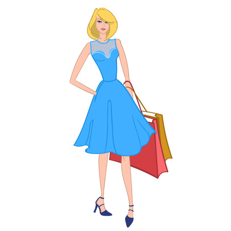 happy shopper: Fasionable girl with shopping bags. Vector illustration.